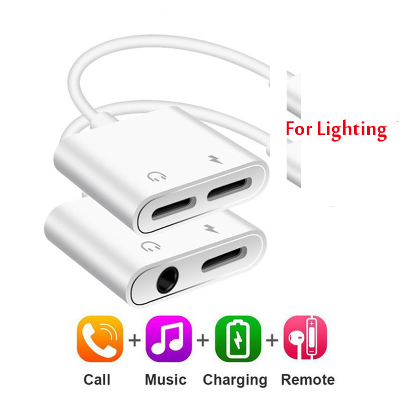Audio-Adapter Headset Headphone-Splitter Lighting Aux-Jack iPhone 8-Plus 2-In-1 for 11x7/8-plus/Aux-jack/Headset title=