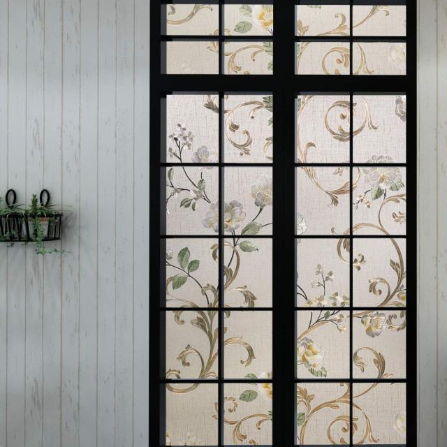 Decorative 3D Window Glass Sticker, Vinyl Self-adhesive Window Tint Films ,Stained Window Glass Films for Home Office 2