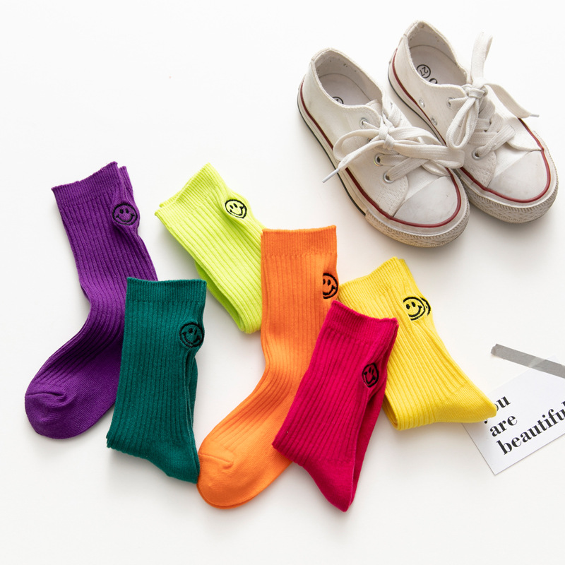 1 Pair Fluorescent Green Students Girls Boys Socks Fashion Trend Bright Color Smiling Face Socks Personality Children Socks