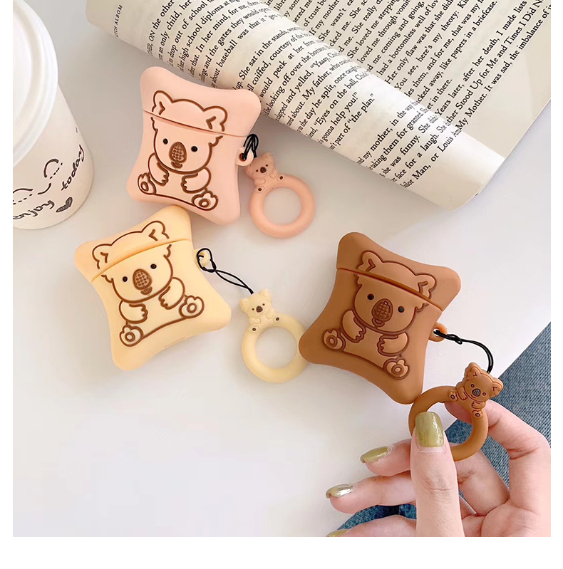 Lovely 3D Biscuits Bear Wireless Bluetooth Earphone Case For Apple AirPods 1/2 Silicone Charging Headphones Funda Cover
