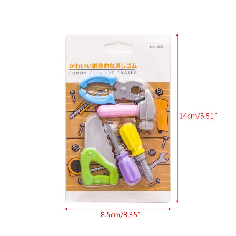 5pcs/set Creative Tool Series Pencil Rubber Eraser School Student Korean Stationery Correction Supplies For Kids Gifts