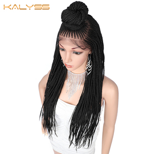 Image 3 - Kaylss 30 Inches 13x7 Braided Wigs Synthetic Lace Front Wig Updo Braided Wigs with Baby Hair for Black Women Cornrow Braided Wig