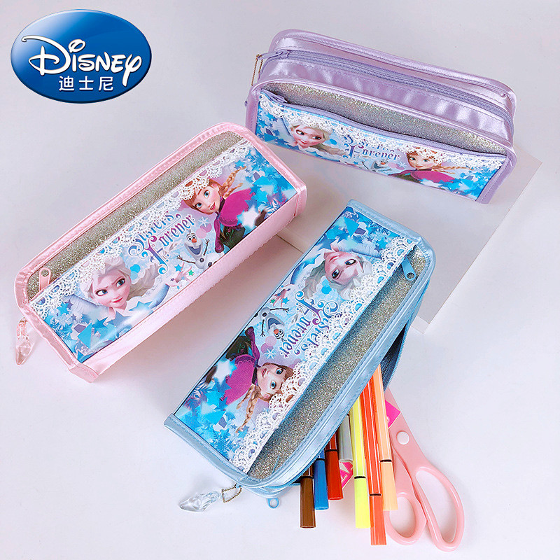 Disney Large Capacity Stationery Box Frozen Pencil Bag Elsa Anna Cartoon Cute Penciles Pouch Student School Supplies Gift