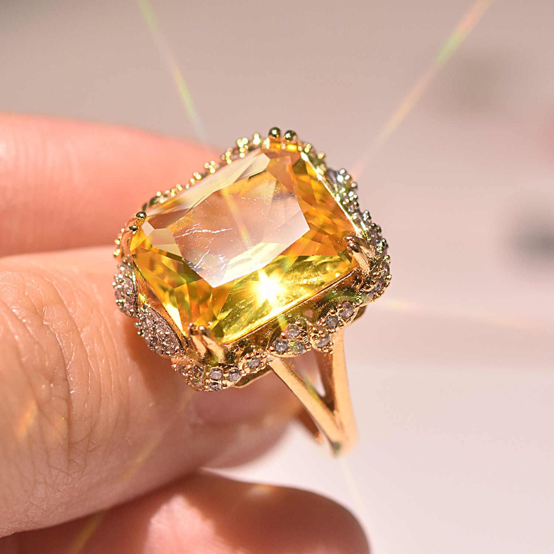 ใหม่ล่าสุดแฟชั่นเจ้าหญิงตัดขนาดใหญ่แชมเปญ Zircon แหวนสไตล์ที่ไม่ซ้ำกันหมั้นงานแต่งงานแหวนคู่แหวนเครื่องประดับ