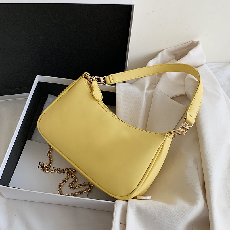 Small Chain PU Leather Crossbody Bags For Women 2020 Summer Solid Color Simple Shoulder Handbags Female Travel Totes