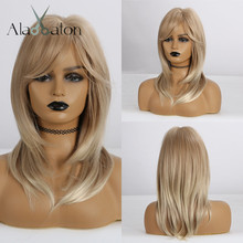 ALAN EATON Synthetic Wigs Medium Wavy Hair for Women Heat Resistant Wig with Bangs Ombre Brown Golden Blonde Ash Layered Wigs