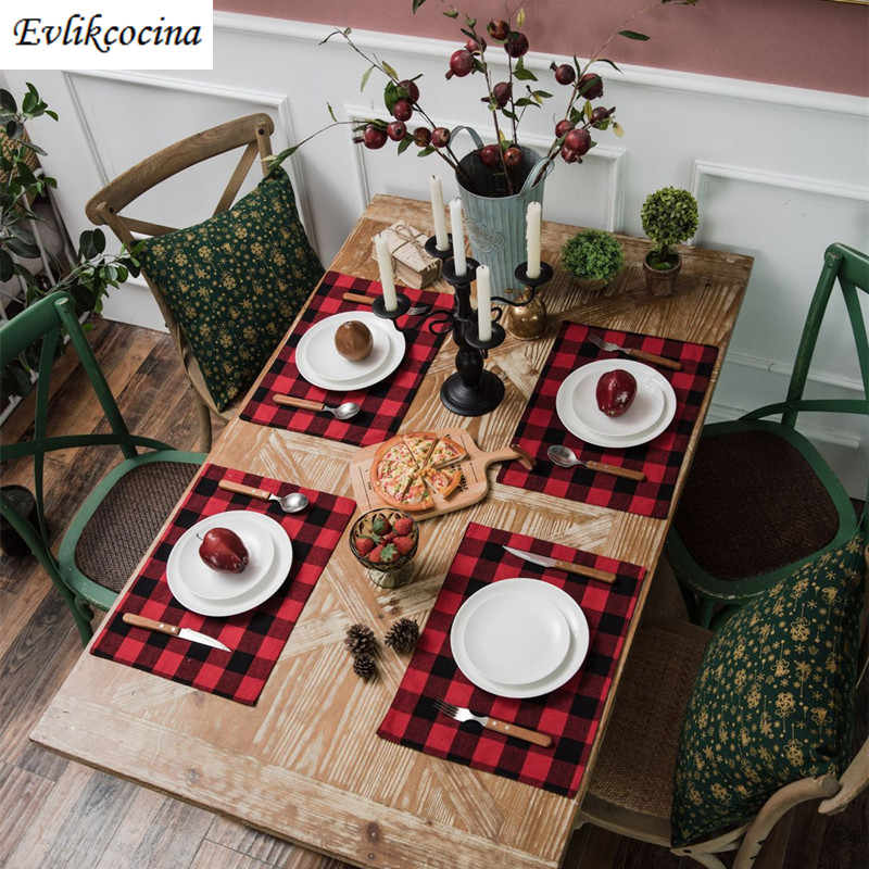 Free Shipping Red Black Big Plaid Placemat Kitchen Accessories