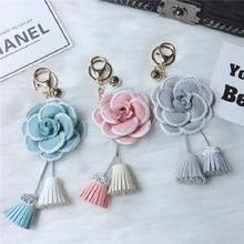 2019 Beautiful Camellia Flower key chain Black White Leather Keychain Women Fashion Girl Keyring
