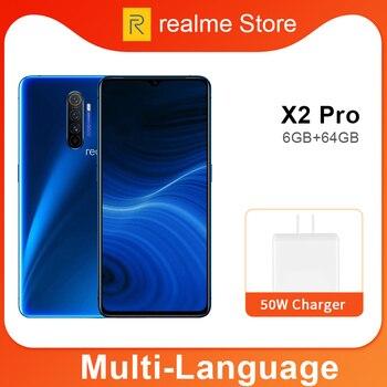 Перейти на Алиэкспресс и купить Realme X2 Pro X 2 6 Гб 64 Гб 6,5 ''мобильный телефон Snapdragon 855 Plus 64MP Quad Camera NFC мобильный телефон OPPO VOOC 50W быстрое зарядное устройство