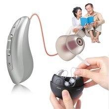 1 par de próteses auditivas rechargable bte perda auditiva invisível amplificador de som motorista armadura tom ajustável para idosos surdos