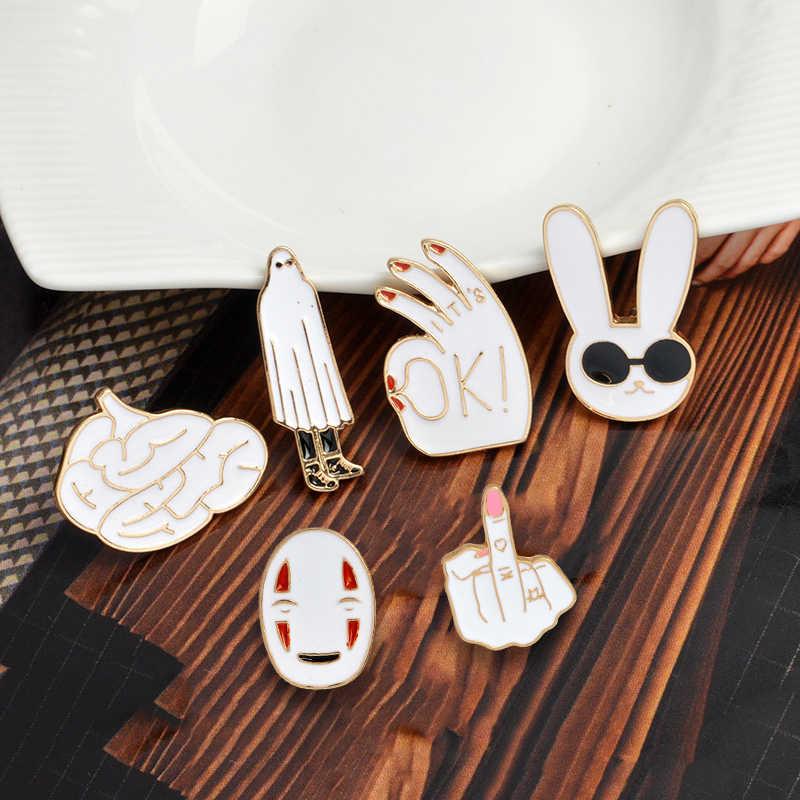 Keren Kerah Pin Jari Tengah Tidak Ada Wajah Kacamata Kelinci Otak Bros Lencana Ransel Enamel Pin Perhiasan Hadiah untuk Teman