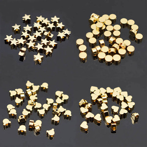 6mm Pentagram heart cross Butterfly shape Beads Metal Copper beads Gold Loose beads for Jewelry Making DIY Bracelet hole 1.7mm