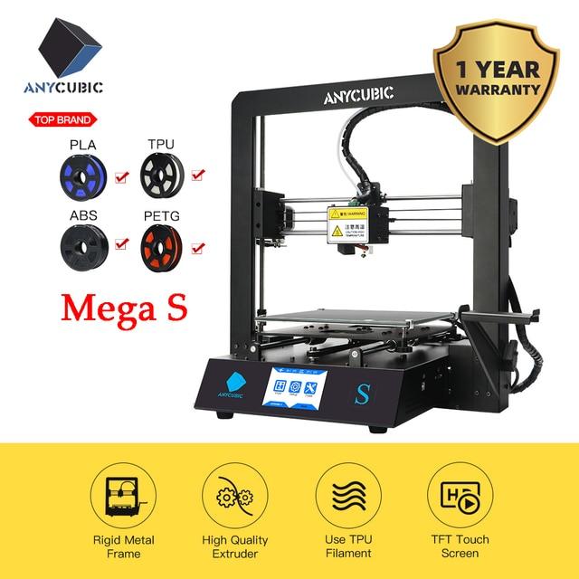 Anycubicメガs 3Dプリンタi3メガアップグレードフルメタルtftタッチ画面、高精度fdm 3dプリンタキットimpresora 3d drucker