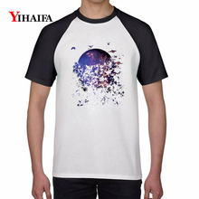 Creative 3D Print T Shirts Starry Butterfly Graphic Tees Men Women Summer White Short Sleeve Unisex Cotton Casual Tops