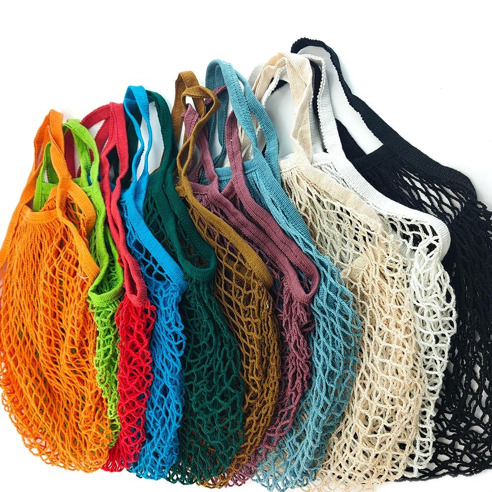 2020 New Mesh Shopping Bag Reusable String Fruit Storage Handbag Totes Women Shopping Mesh Net Woven Bag Shop Grocery Tote Bag
