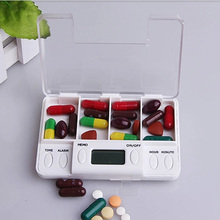4 Grid Intelligent Plastic Storage Box Electronic Timing Reminder Medicine Boxes Alarm Timer Pills Desk Organizer Pill Container electronic digital compartment smart timing sealed pill case medicine box container tablet storage case circular reminder alarm