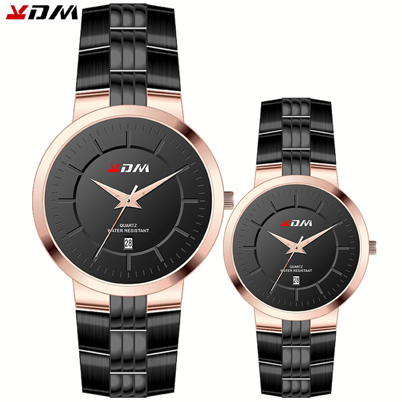 KDM Couple Watches Fashion Romantic Casual Wristwatch Luxury Brand Full Stainless Steel Quartz Waterproof Clock Reloj Masculino