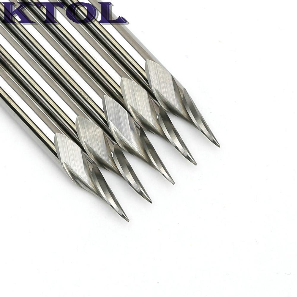 2PCS 3.175mm Carbide PCB Engraving Bits CNC Router Tool 10 Degrees 0.1mm V-Shap