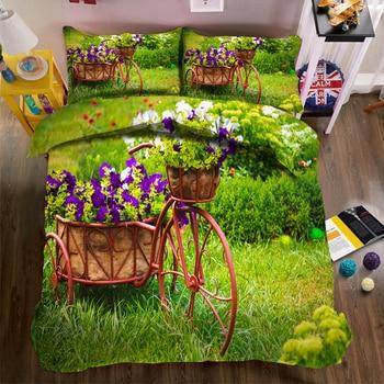 Pastoral Landscape print Bedding set Retro Bicycle Meadow Pattern 3pcs Duvet Cover set Room Double Bedding set Pillowcase