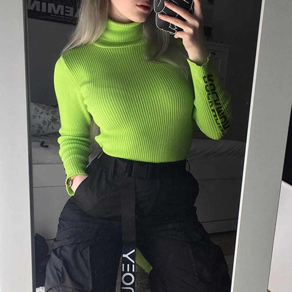 Suéter verde fluorescente para mujer cuello alto sólido