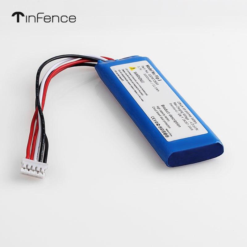 Tinfence 3.7V 3000mAh Battery For JBL Flip 4 3 7.4V 5000mAh  Xtreme GRAY Li Polymer Rechargeable  Bluetooth Speaker GSP872693