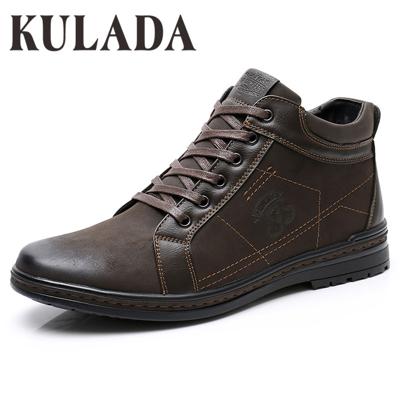KULADA Hot Top Quality Men Boots Men Winter Thick Fur Ankle Shoes  Casual Boots Zipper Side Men Handmade Cow Suede Footwear
