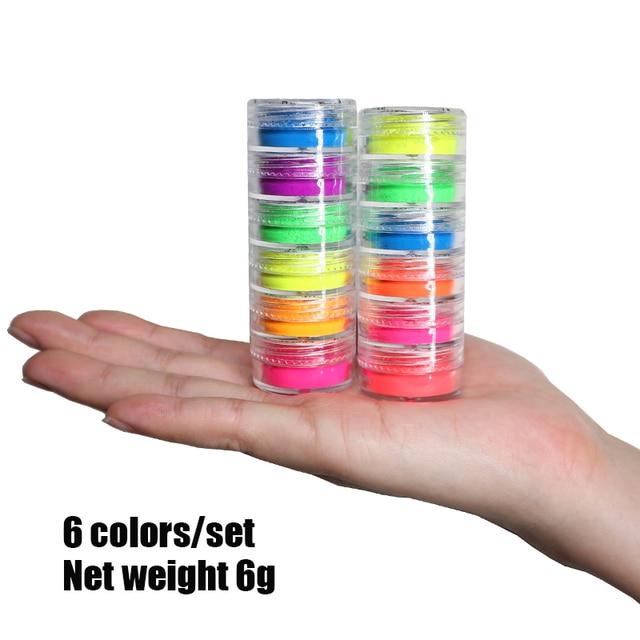 Neon Pigment Powder Fluorescent Nail Glitter Set Shinny Ombre Chrome Dust DIY Gel Polish Manicure For Nails Art Decoration 5