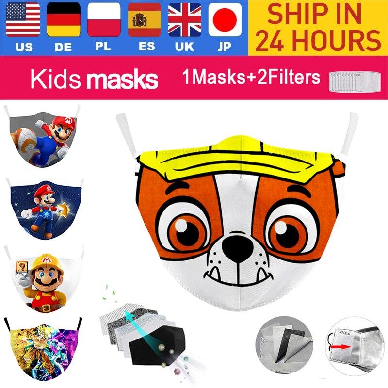 Дети Маски для лица с принтом на тему собак Супер Марио маска многоразовые Респиратор маска мультфильм Ветрозащитная маска для полости рта ...