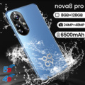 Nova8 Pro 6.8 Inch 4G 5G Smartphone New Arrival Dual SIM 6500mAh 8+256GB HD Full Screen Support Face Unlock Network Mobile Phone
