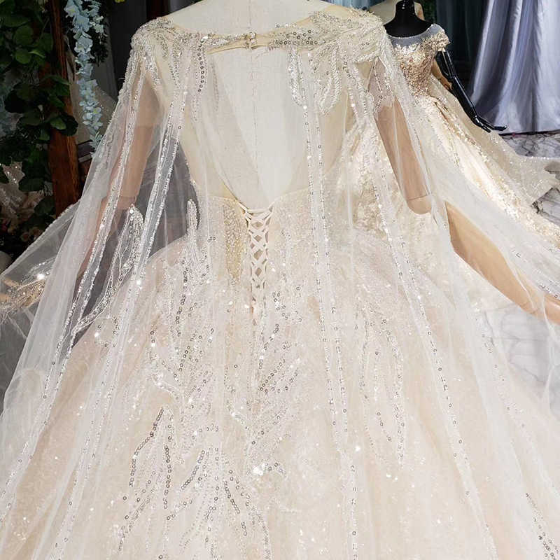 HTL662 luxury ball gown wedding dresses cathedral train shawl illusion appliques  sequined appliques bridal gowns vestidos novia