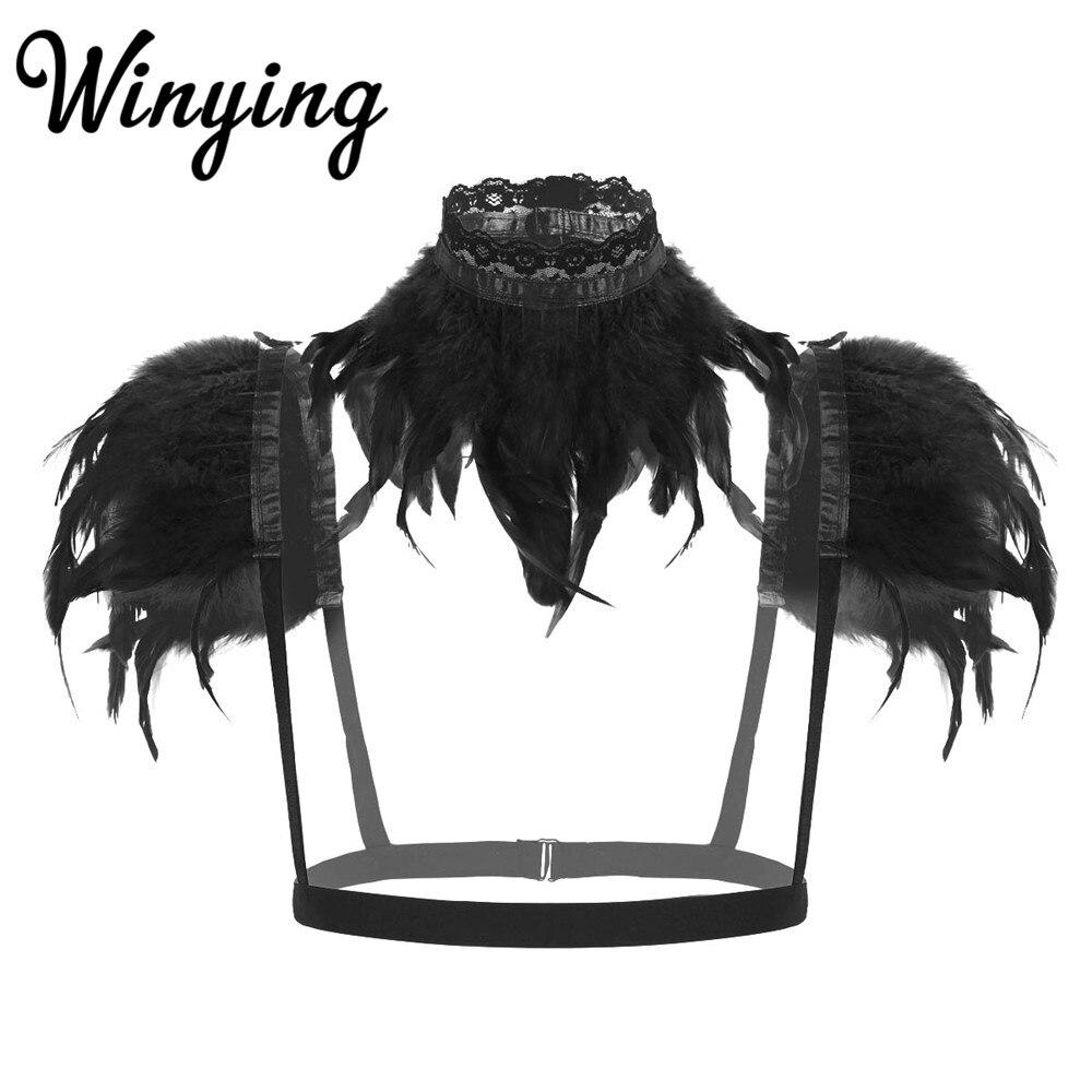 Женская готическая шаль с натуральными перьями, шаль, Наплечные крылья, женское нижнее белье, женский бюстгальтер, ремни на плечо для костюм...
