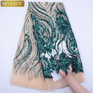 Image 4 - 2019Hot Selling Sequins French Tulle Lace Fabric High Quality Sequins African Nigerian Mesh Lace Fabric For Wedding Sewing A1737