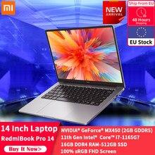 Xiaomi RedmiBook Pro 14 portátil MX450 Intel Core i7-1165G7 16GB DDR4 512GB PCIe 100% de Color sRGB gama de ordenador portátil Win10 PC