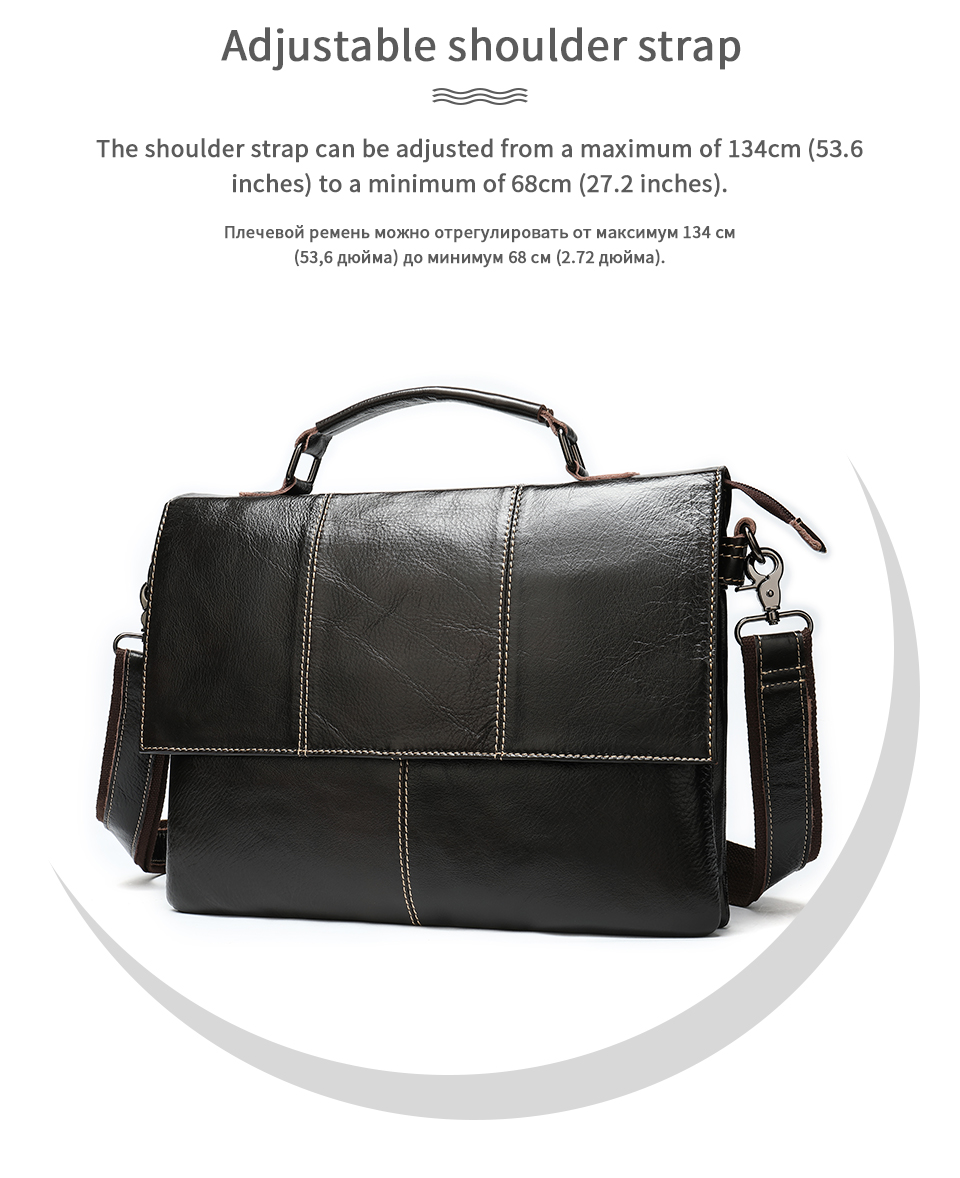 H9dc4a16578f84061be90e6f11187a680U Bag Men's Briefcase Genuine Leather Office Bags for Men Leather Laptop Bags Shoulder/Messenger Bag Business Briefcase Male 7909