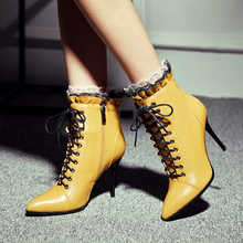 Plus Size 34-43 New Genuine Leather Punk Women Ankle Boots Lace Up Fashion Pointed Toe High Heel Chelsea Boots Pumps 10CM Shoes цены онлайн