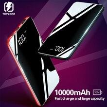 10000 мАч банк питания для Xiaomi портативное зарядное устройство банк зеркальные мобильные телефоны 10000 мАч Micro Usb type C Внешняя батарея
