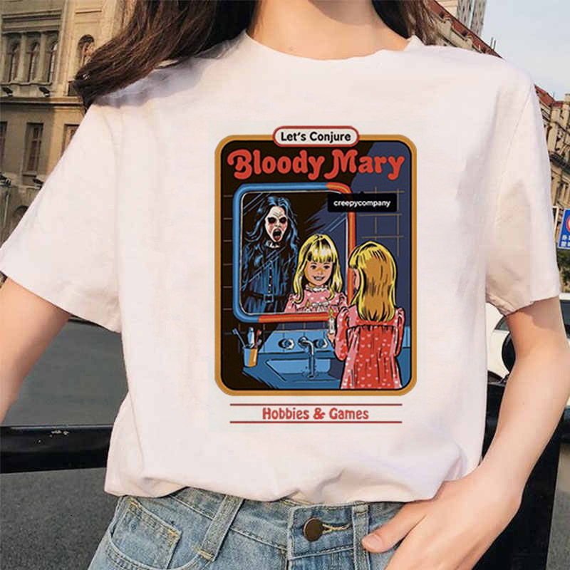 ZOGANKIN T Shirt Women New Harajuku Vintage Print Gothic Round Neck Short Sleeve Casual Tops T-shirt Clothing Femme