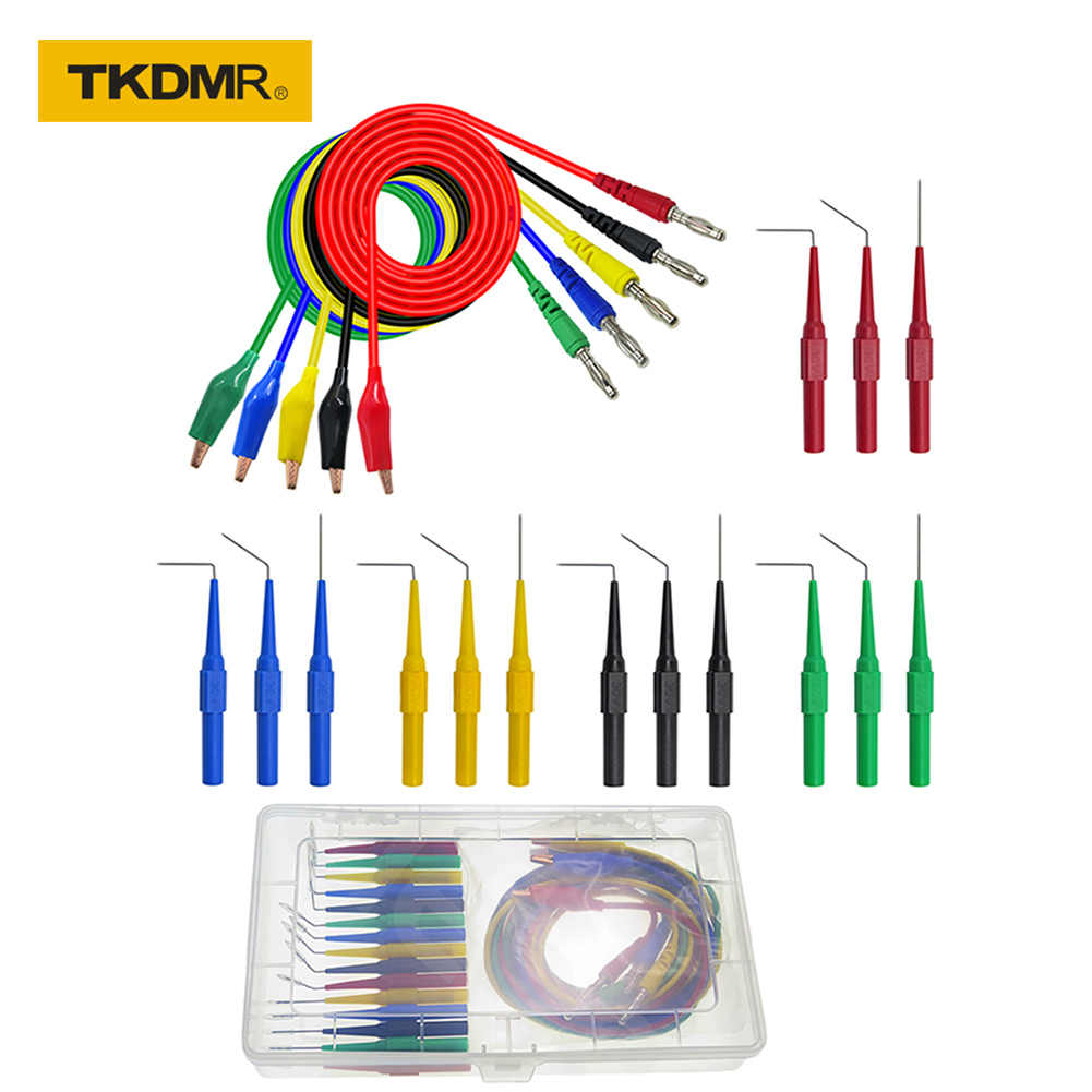 TKDMR P1920 20 pz/set Posteriore Sonda Kit Coccodrillo a 4mm Spina A Banana di Test per Multimetri Piombo 30V /10A per strumento Automotive