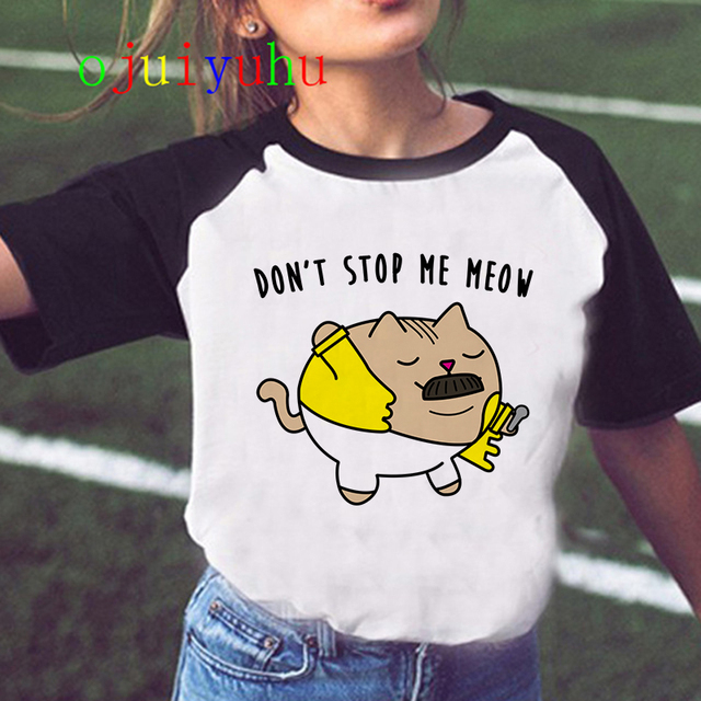 Freddie Mercury Queen Band T Shirt Women Harajuku Vintage Ullzang T-shirt Fashion Queen Tshirt 90s Graphic Rock Top Tees Female 3
