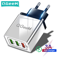 Qgeem-carregador usb para celular, 3 portas, iphone x, xiaomi, eu, us, plug qc 3.0, carregamento rápido, 3.0, adaptador de carregador de parede