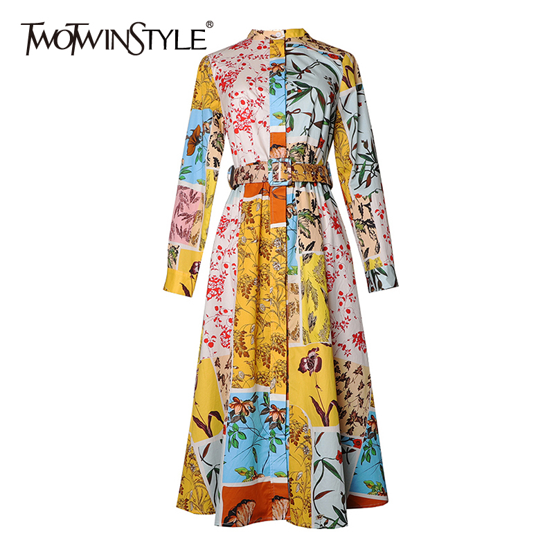 TWOTWINSTYLE Casual Print Women Dress Stand Collar Long Sleeve High Waist With Sashes Hit Color Dresses For Female Fashion Tide