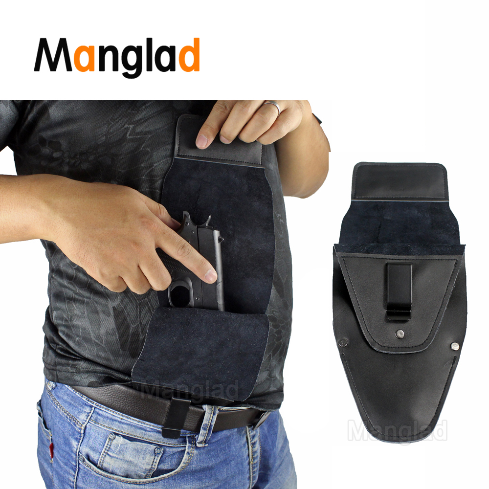 Cowhide Bag Hunting Glock Holster Concealed Carry Kydex Inside The Waistband Holster G17 G22 G31 Right Hand Use Waist Pack
