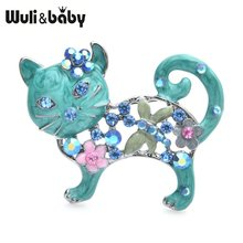 Wuli & bebê adorável esmalte gato broches feminino metal strass flor animal broche casual presentes(China)