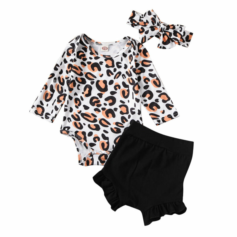 Infant Clothing 2020 Summer Toddler Kids Baby Girl Clothes Romper Tops Leopard Print Pants Outfit