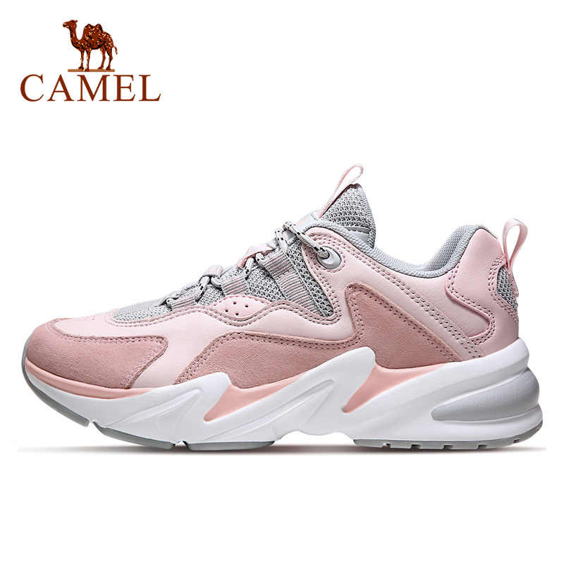 Camelo moda tênis masculino mulher plataforma sapatos esportivos altura-crescente estabilidade borracha casal casual