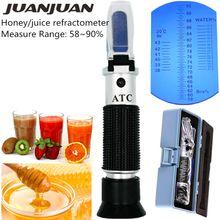 RHB-90ATC Imker Honig Hand Honig Refraktometer 58-90% Brix Zucker Baume Wassergehalt Tester mit Einzelhandel Box 30% off