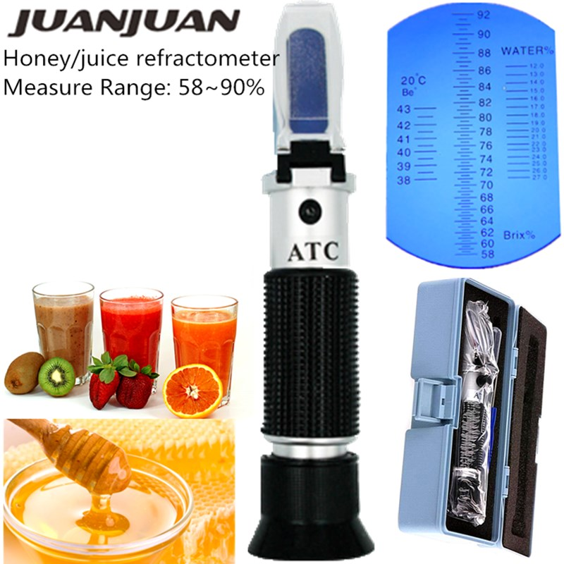 RHB-90ATC Beekeeper Honey Hand Held Honey Refractometer 58-90% Brix Sugar Baume Water Content Tester With Retail Box  30%off