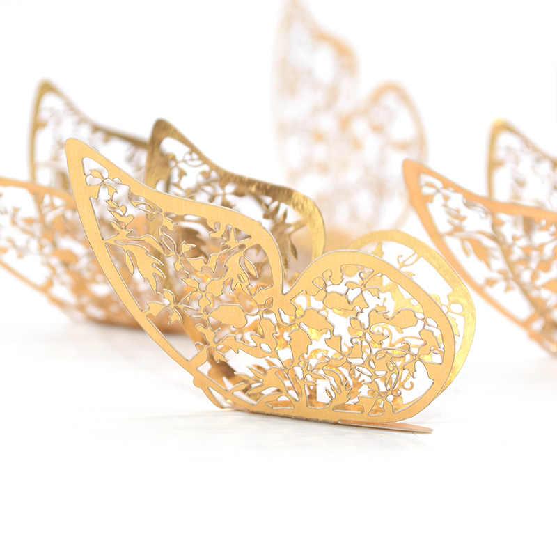 12Pcs/set 4,5-12cm Gold Silber Realistische Wand Aufkleber Schmetterling Kinderzimmer Aufkleber Hochzeit Party hause Dekoration Liefert