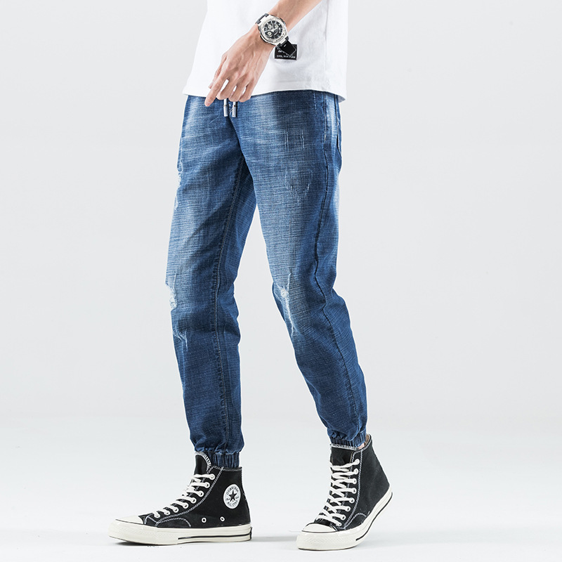 2019 Spring And Summer New Style Casual Cotton Elastic Fashion Slim Fit Jeans Elastic Waist Ankle Banded Pants Capri Pants Men's