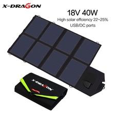 X-DRAGON güneş paneli 40W güneş pili şarj cihazı iPhone samsung telefonları dizüstü bilgisayarlar için 12V araba açık havada pil yürüyüş